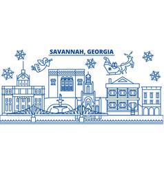 usa georgia savannah winter city skyline merry vector image vector image