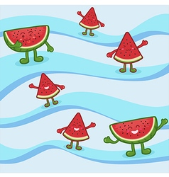 Cute Watermelon Fruit Slice Mascot on Wave vector image vector image