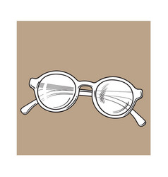 fashionable round sunglasses in plastic frame vector image