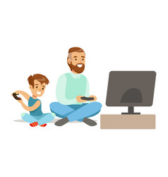 father and boy sitting on the floor with joysticks vector image vector image