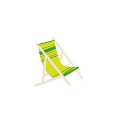 Flat cartoon striped lounge chair tanning bed vector