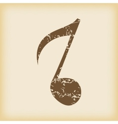 Grungy eighth note icon vector image