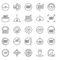 180 degrees outline icons set angle vector