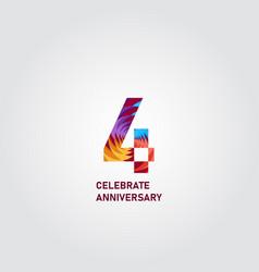 4 year anniversary elegant rainbow template design vector