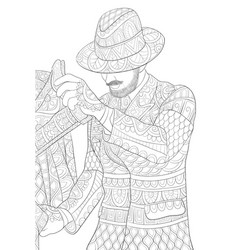 Adult coloring bookpage a man wearing a hat vector
