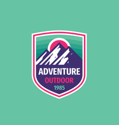 adventure outdoor - concept badge design mountain vector image