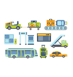 airport design elements set different transport vector image