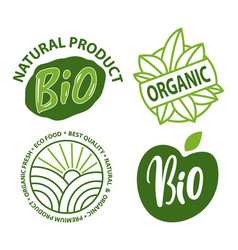 bio and organic eco food fresh label vector image