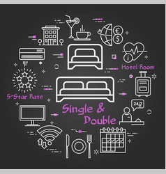 black concept single and double room in vector image