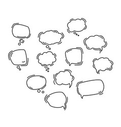 black speech bubble line icons hand drawn black vector image