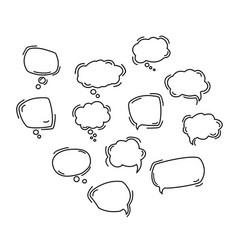 black speech bubble line icons hand drawn vector image