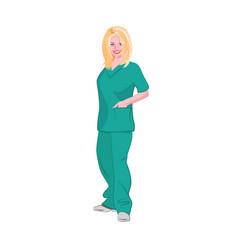 Blonde female medical technician wearing green vector