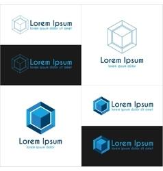 Blue cube logo templates vector