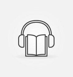 Book with headphones icon vector