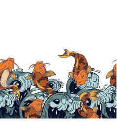 border with fish koi japanese vintage print vector image