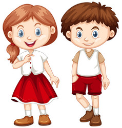 boy and girl in red and white costume vector image