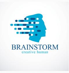 Brainstorm concept design of human head profile vector