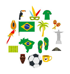 Brazil travel symbols icons set in flat style vector