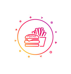 Burger with fries icon fast food restaurant vector