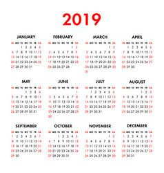 calendar 2019 year on a white background week vector image