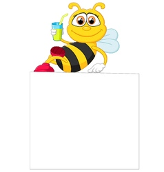 Cartoon bee holding blank sign vector image