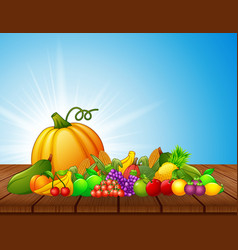 Cartoon fruits and vegetables on wooden table vector