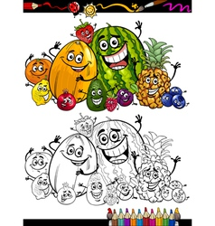 cartoon fruits group for coloring book vector image