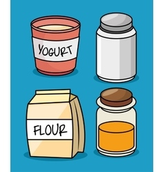 Collection flour yogurt salt honey icons design vector
