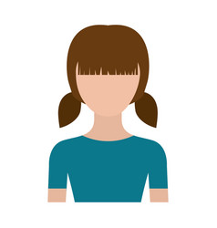 Colorful silhouette faceless half body girl with vector