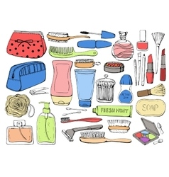 Cosmetics and shower accessories for skin vector image