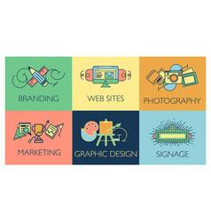 creative design process concept with web studio vector image