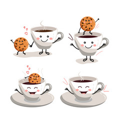 cup coffee set cookie cartoon vector image
