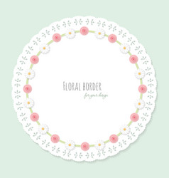 Cute doily frame decorated with flowers shabby vector