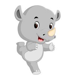 cute happy rhino cartoon vector image