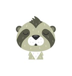 Cute kid sloth face isolated vector