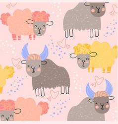 cute kids background pattern farmyard animals vector image
