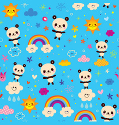 cute panda bears seamless pattern vector image