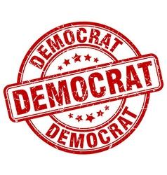Democrat red grunge round vintage rubber stamp vector