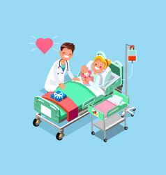 Doctor and baby medical isometric people vector
