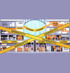 empty shopping mall with yellow bankruptcy tape vector image