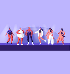 Fashion show top models wearing trendy clothing vector