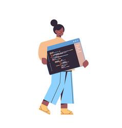 Female web developer creating program code vector