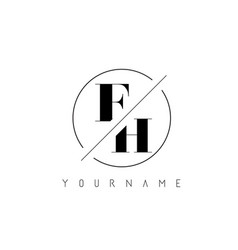 fh letter logo with cutted and intersected design vector image