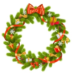 Fir Wreath with Gifts vector image