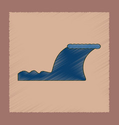 Flat shading style icon disaster tsunami vector
