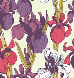 Floral flower iris seamless hand drawn vector image