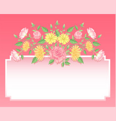 floral rose flowers and leaves decoration vector image