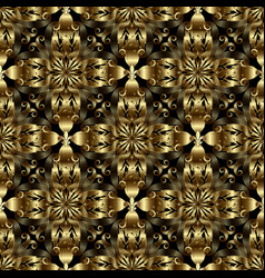 gold baroque 3d seamless pattern textured vector image