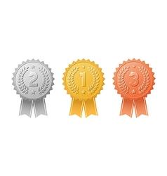 Gold silver bronze award badges with ribbons set vector