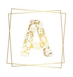 Golden ornamental alphabet letter a font vector